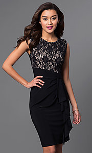 Image of black and nude lace-bodice homecoming dress. Style: JU-TI-87473 Front Image