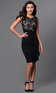 Image of black and nude lace-bodice homecoming dress. Style: JU-TI-87473 Detail Image 1