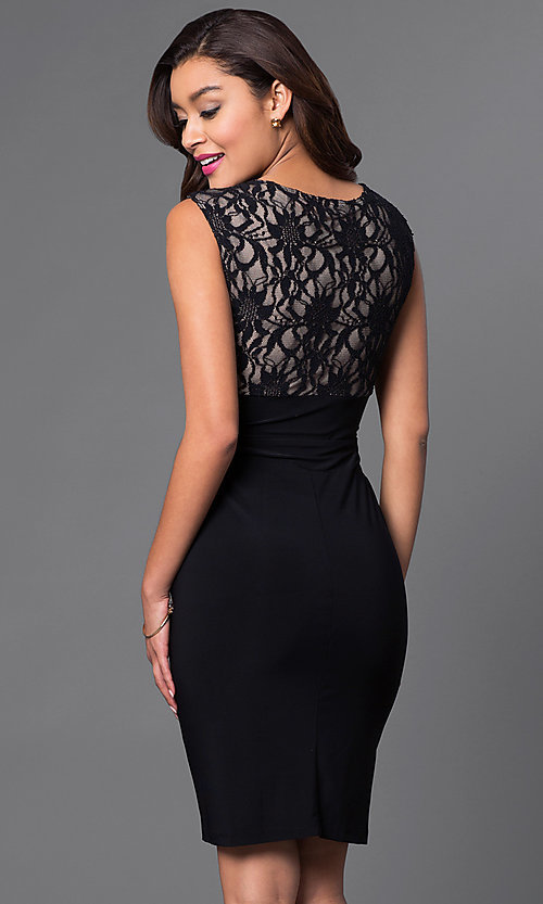 Image of black and nude lace-bodice homecoming dress. Style: JU-TI-87473 Back Image