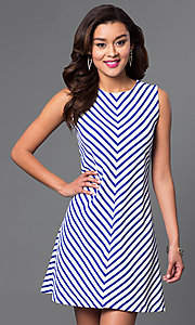 Short Sleeveless Dress with Stripes
