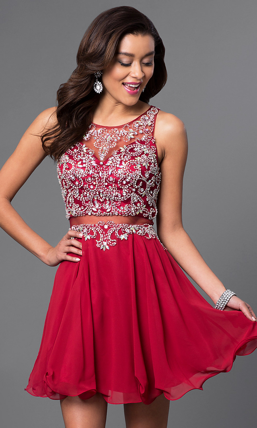 Short Mock Two-Piece Homecoming Dress - PromGirl