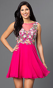Multi-Color Embroidered Bodice V-Neck Short Dress