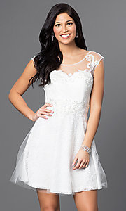 Short Lace Illusion Sweetheart Sleeveless Dress