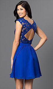 Image of short party dress with lace sequin v-neck bodice. Style: FB-GS1430 Back Image