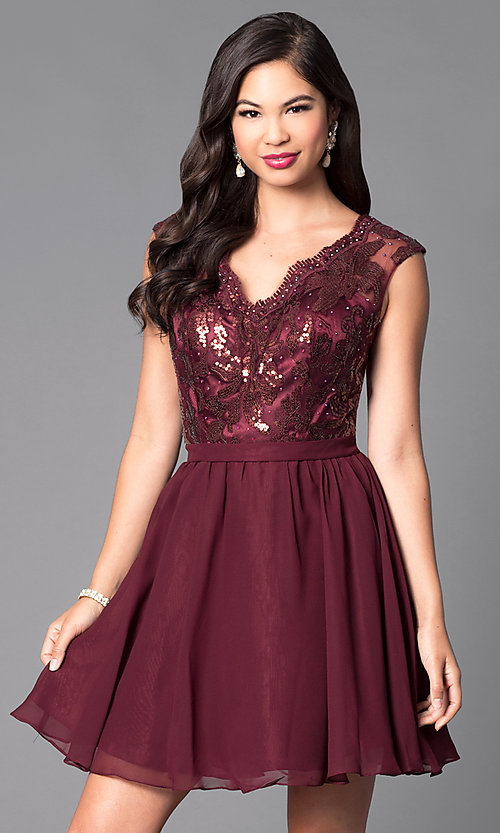 Image of short party dress with lace sequin v-neck bodice. Style: FB-GS1430 Front Image