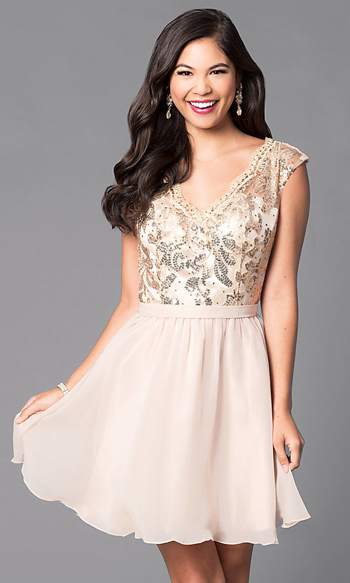 Image of short party dress with lace sequin v-neck bodice. Style: FB-GS1430 Detail Image 1