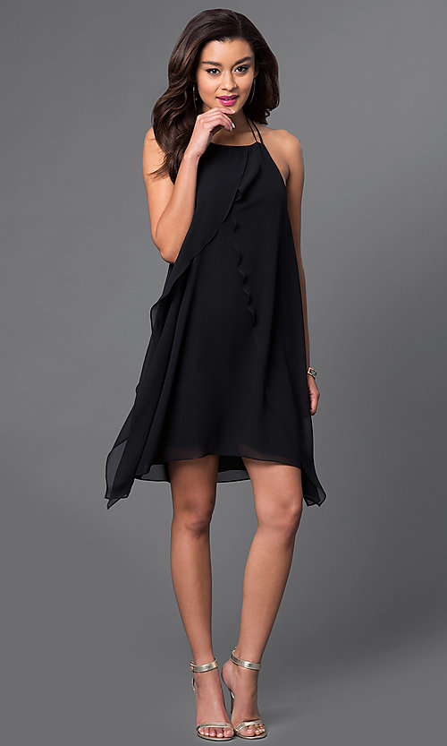 Image of open-back short chiffon homecoming party dress Style: BC-VDW65B59 Detail Image 1