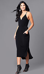 V-Neck Spaghetti-Strap Midi Party Dress with Pockets