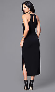 Image of v-neck spaghetti-strap midi party dress with pockets. Style: BC-YDM69E63 Back Image