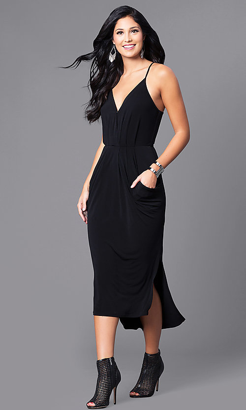 Image of v-neck spaghetti-strap midi party dress with pockets. Style: BC-YDM69E63 Front Image