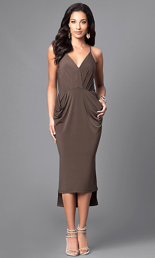 Image of v-neck spaghetti-strap midi party dress with pockets. Style: BC-YDM69E63 Detail Image 1