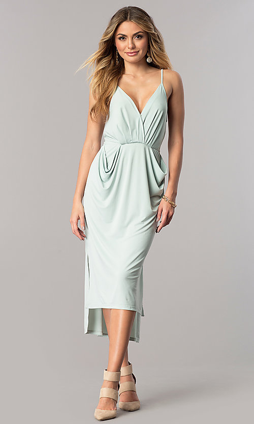 Image of v-neck spaghetti-strap midi party dress with pockets. Style: BC-YDM69E63 Detail Image 2