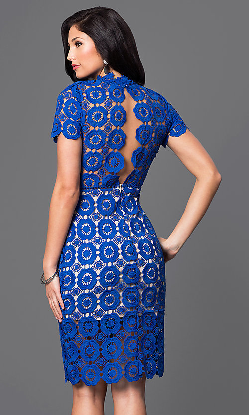 Image of knee-length short-sleeve lace high-neck party dress. Style: JTM-JMD6583 Back Image