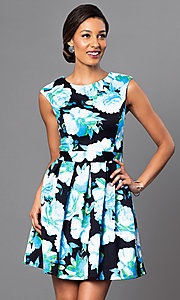 Floral Print Short Sleeveless Dress with Back Cut Out