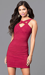 Image of bandage-style v-neck cut-out homecoming mini dress. Style: EM-EBV-1027-550 Front Image