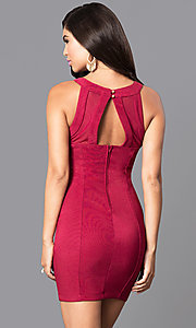 Image of bandage-style v-neck cut-out homecoming mini dress. Style: EM-EBV-1027-550 Back Image