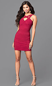 Image of bandage-style v-neck cut-out homecoming mini dress. Style: EM-EBV-1027-550 Detail Image 1