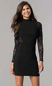 Long-Sleeve Short Black Homecoming Dress with Lace