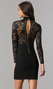 Image of long-sleeve short black homecoming dress with lace. Style: EM-EHW-1446-001 Back Image