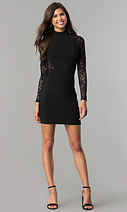 Image of long-sleeve short black homecoming dress with lace. Style: EM-EHW-1446-001 Detail Image 2