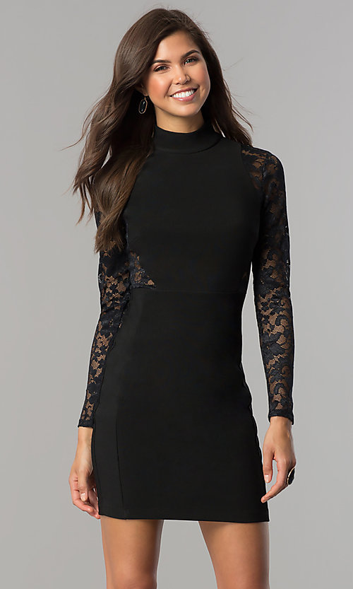Cheap Lace-Sleeve Black Homecoming Dress - PromGirl