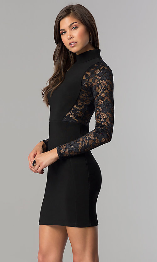 Image of long-sleeve short black homecoming dress with lace. Style: EM-EHW-1446-001 Detail Image 1