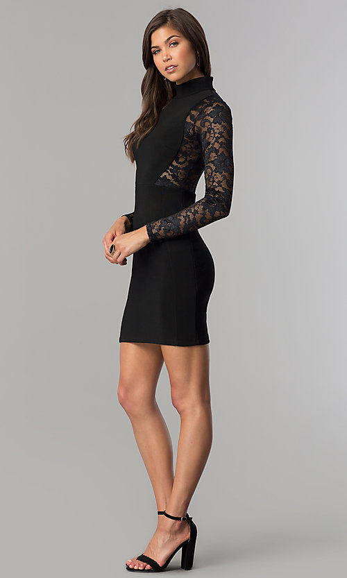 Image of long-sleeve short black homecoming dress with lace. Style: EM-EHW-1446-001 Detail Image 3