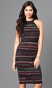 Knee-Length Striped Form-Fitting Party Dress