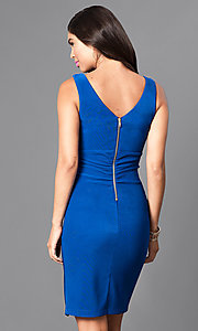 Image of royal blue homecoming party dress with v-neckline. Style: EM-ETH-1027-420 Back Image