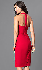 Image of red t-back knee-length party dress with cut outs. Style: EM-EUB-1027-600 Back Image