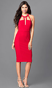 Image of red t-back knee-length party dress with cut outs. Style: EM-EUB-1027-600 Detail Image 1