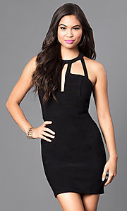 Image of black t-back homecoming dress with front cut outs. Style: EM-EVL-1027-001 Detail Image 2