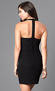 Image of black t-back homecoming dress with front cut outs. Style: EM-EVL-1027-001 Back Image