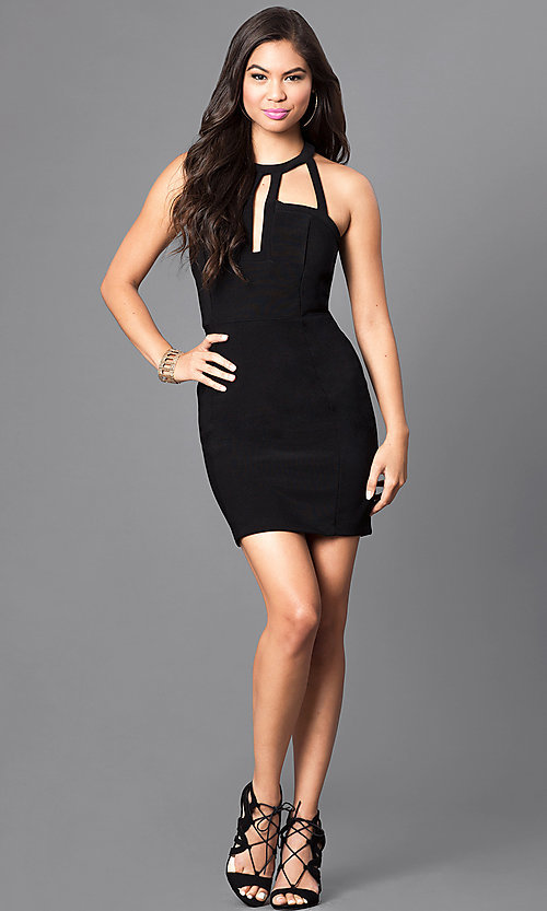 Image of black t-back homecoming dress with front cut outs. Style: EM-EVL-1027-001 Detail Image 3