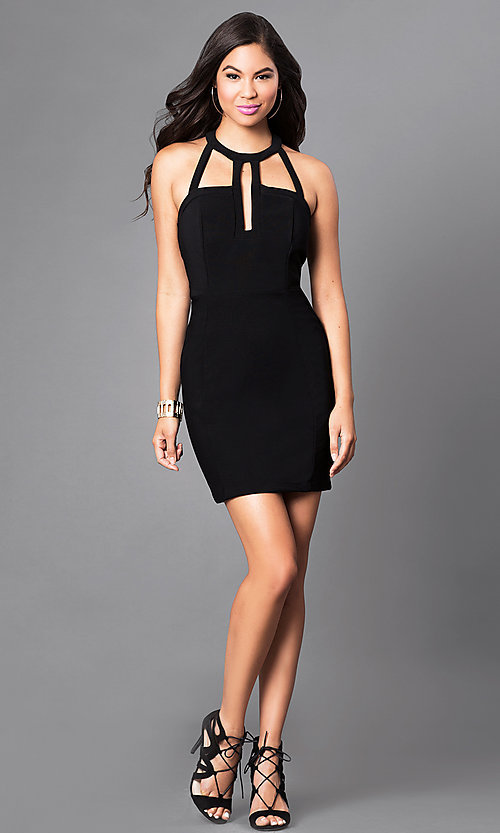 Image of black t-back homecoming dress with front cut outs. Style: EM-EVL-1027-001 Detail Image 1