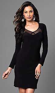 Long-Sleeve Short Black Dress with Cut-Out Back