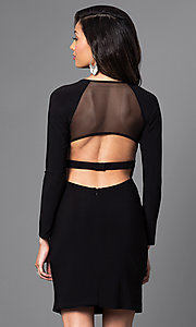 Image of long-sleeve short black dress with cut-out back. Style: MO-12224 Back Image