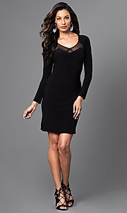 Image of long-sleeve short black dress with cut-out back. Style: MO-12224 Detail Image 1