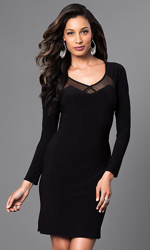 Image of long-sleeve short black dress with cut-out back. Style: MO-12224 Front Image