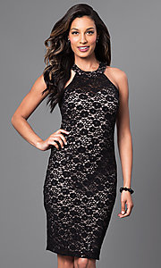 Image of knee-length black lace dress with lace-up back Style: MO-12237 Front Image