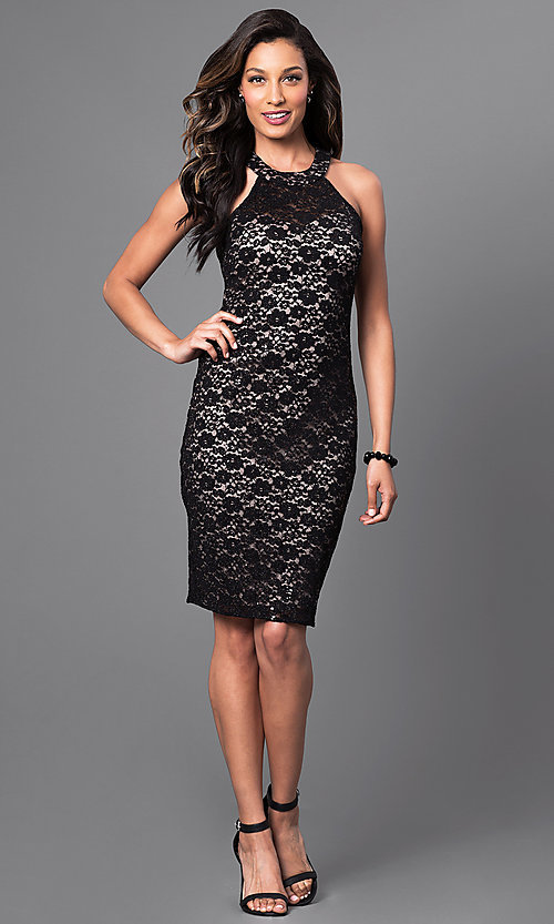Image of knee-length black lace dress with lace-up back Style: MO-12237 Detail Image 1