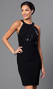 Image of little-black designer party dress by Morgan. Style: MO-12187 Front Image