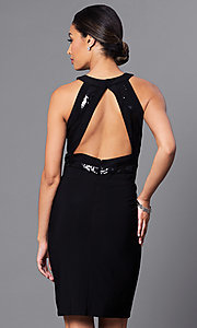 Image of little-black designer party dress by Morgan. Style: MO-12187 Back Image