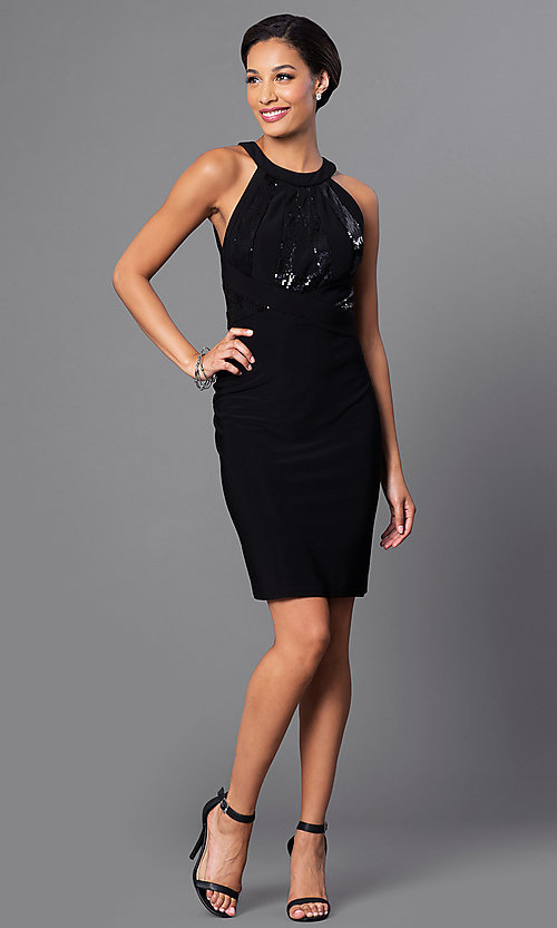 Image of little-black designer party dress by Morgan. Style: MO-12187 Detail Image 1