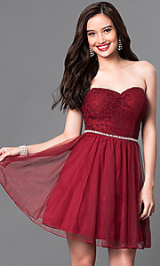 Lace Strapless Sweetheart Short Homecoming Dress