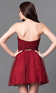 Image of lace strapless sweetheart short homecoming dress. Style: SS-d60701hqb Back Image