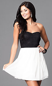 Strapless Black and Ivory Short Homecoming Dress