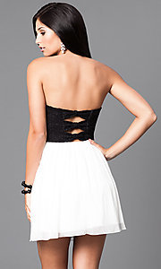 Image of strapless black and ivory short homecoming dress. Style: SS-d65201hvf Back Image