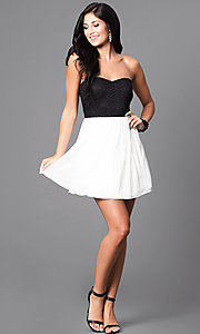 Image of strapless black and ivory short homecoming dress. Style: SS-d65201hvf Detail Image 1