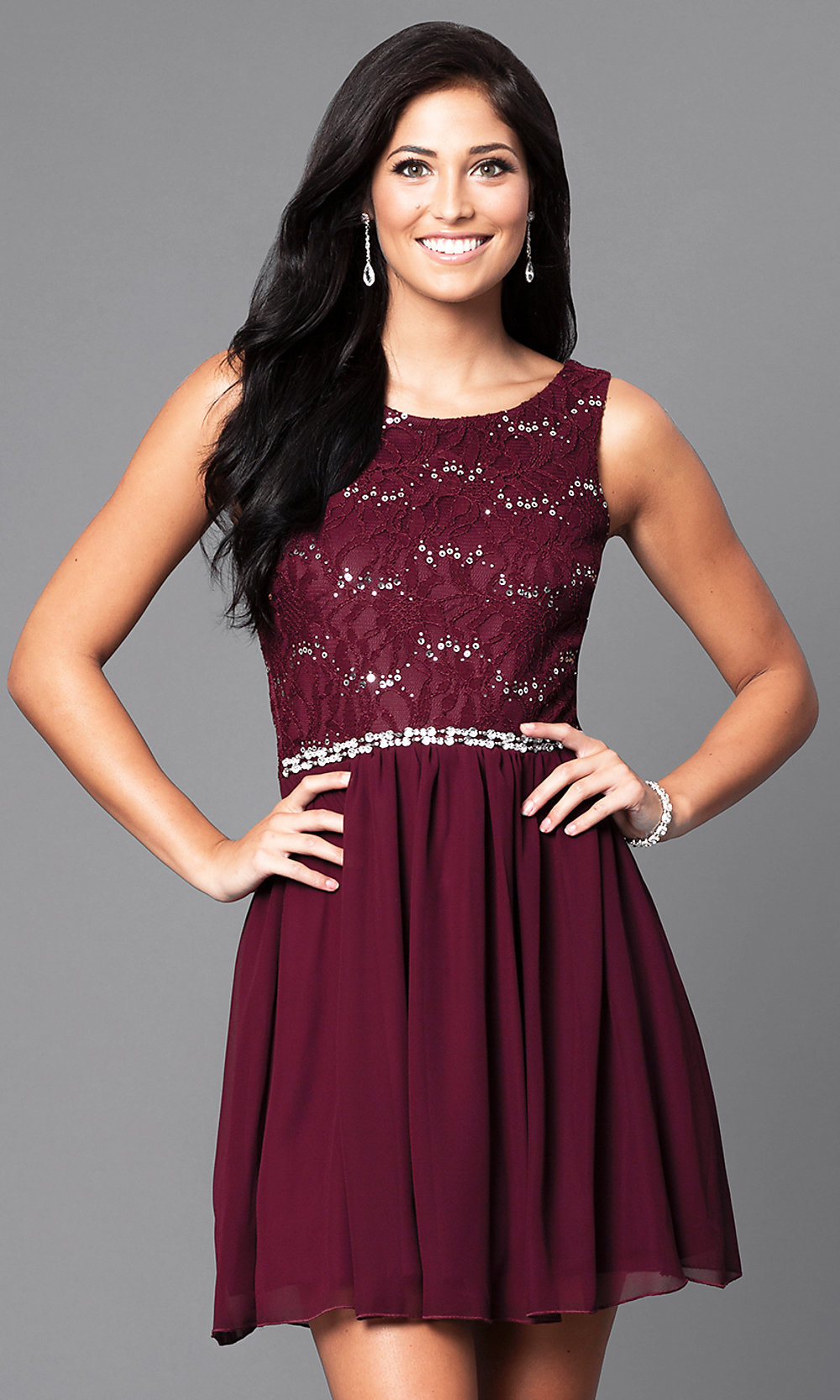 Short Homecoming Dress with Lace Bodice -PromGirl